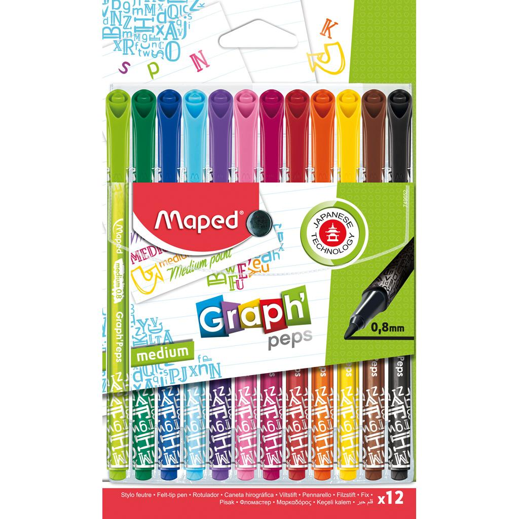 Graph'Peps Déco Marker, 0.8mm, x12 Assorted