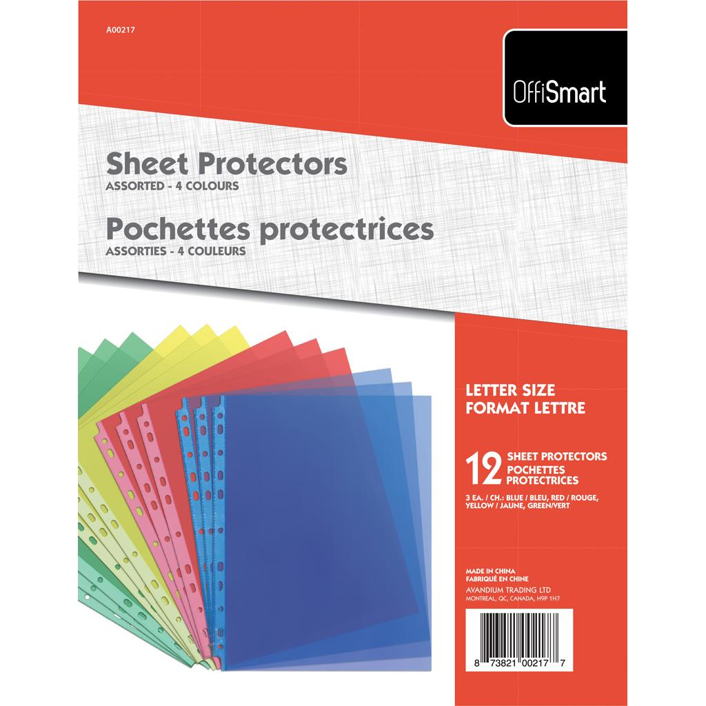 Sheet Protectors, 12PK, Coloured