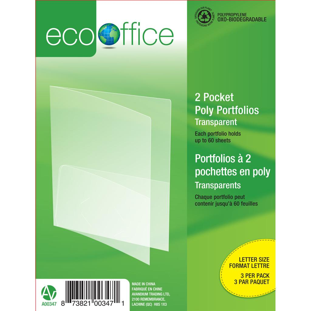 2-Pocket Portfolio, 3PK, Clear
