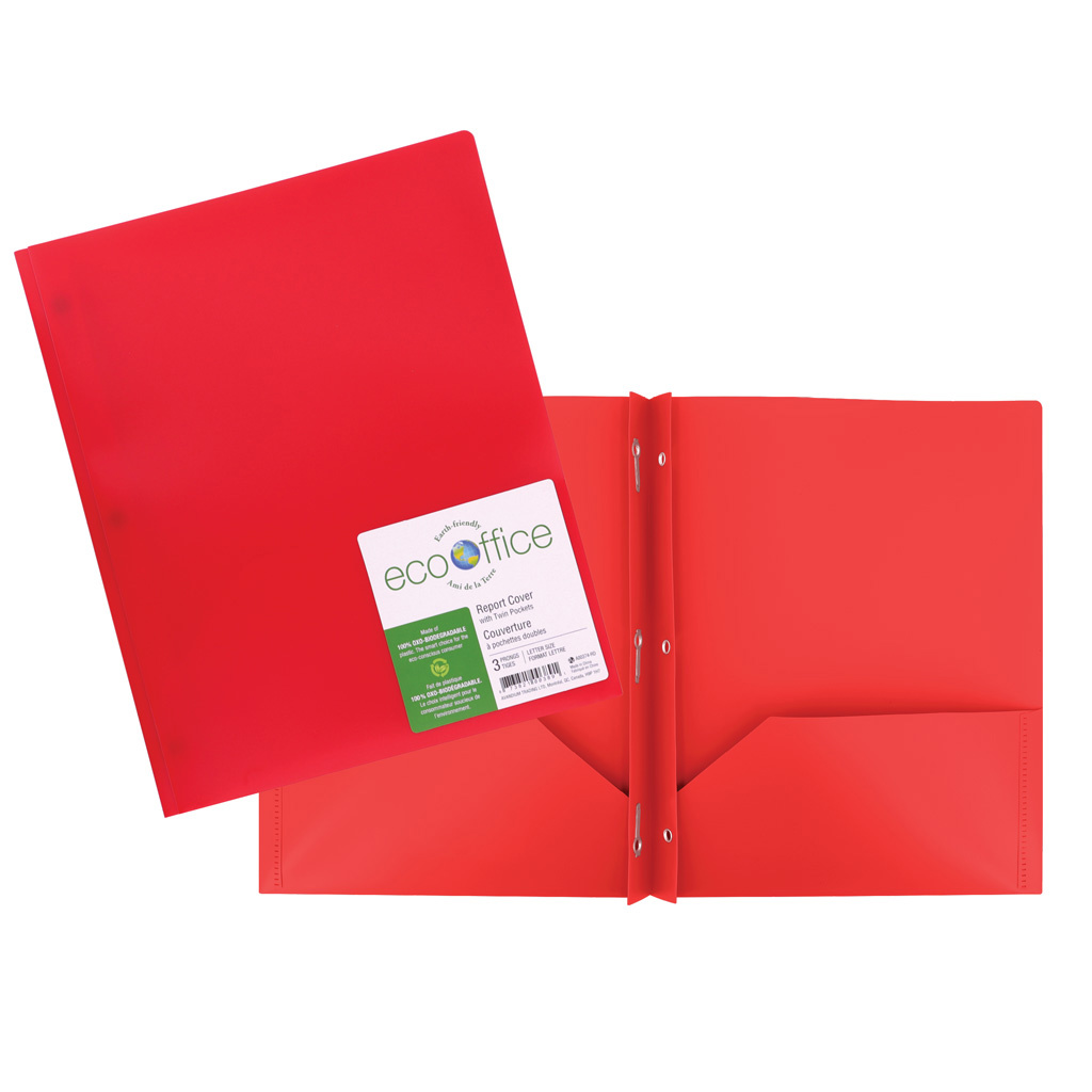 Poly 3-Prong Report Cover, 2 Pockets, Red