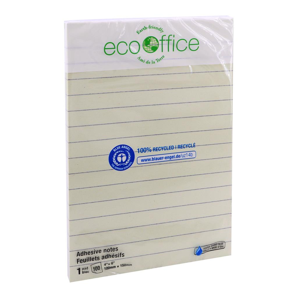 "Yellow Adhesive Notes, 4""x6"", Lined, 100% Recycled"