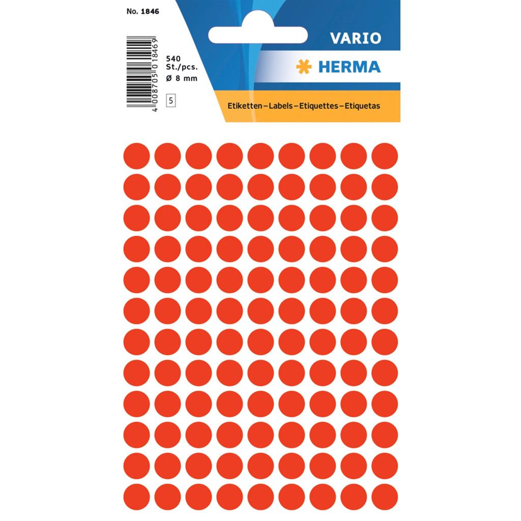 VARIO Round Labels, Ø 8 mm Dots, Fluo Red