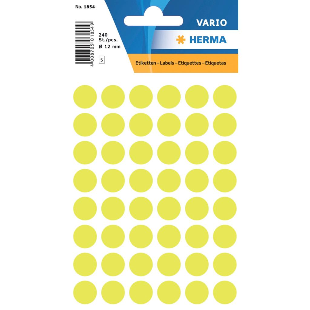 VARIO Round Labels, Ø 12 mm Dots, Fluo Yellow