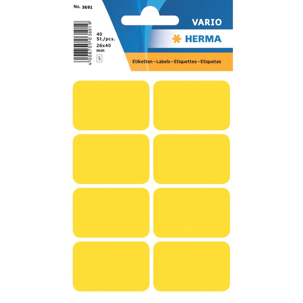 VARIO Rectangular Labels, 25x40 mm, Yellow