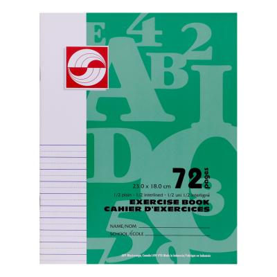 Cahier d'exercices, 1/2 Uni, 1/2 interlignée, 72pg