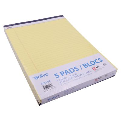 5-PACK Writing Pad Ruled Canary 50 Sheets, 8.5x11