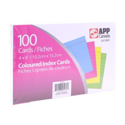 "Index Cards 4""x6"", Ruled, x100 Coloured"