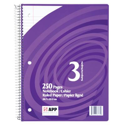 Coil Exercise Book, Ruled, 250pg, 3-Subjects