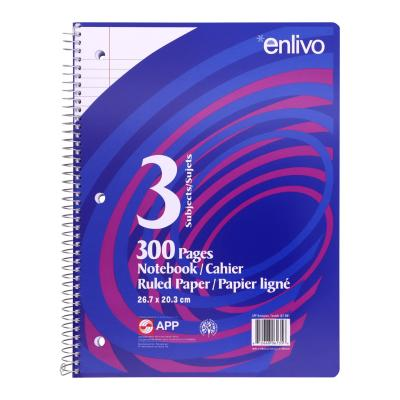 Coil Exercise Book, Ruled, 300pg, 3-Subjects