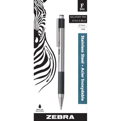 F301 Retractable Ball Pen, 0.7mm, Black