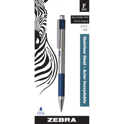 F301 Retractable Ball Pen, 0.7mm, Blue