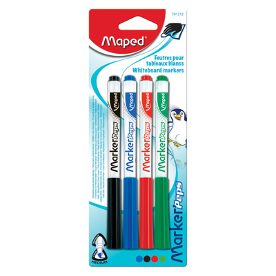 Dry Erase Markers, Chisel Tip, x4 Assorted