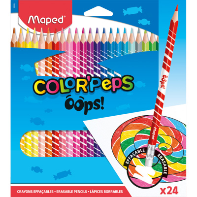 Color'Peps Coloured Pencils, Erasable, x24