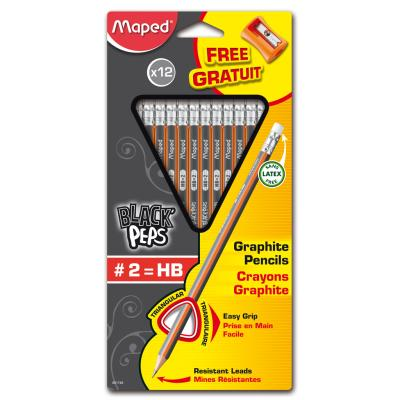 Black'Peps HB2 Graphite Pencils, x12 + Sharpener