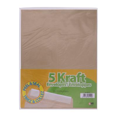 Peal & Seal Kraft Envelopes, 5PK