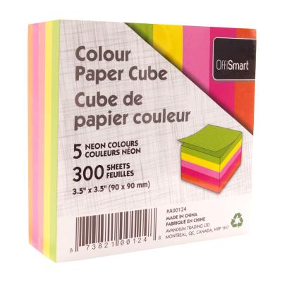 Paper Cube, 5 Neon Colours, 300 Sheets