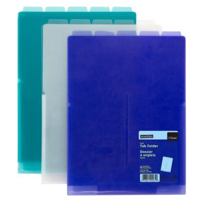 6-Pocket Slim Tab Folder, Vertical, Assorted
