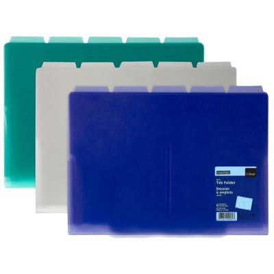 6-Pocket Slim Tab Folder, Horizontal, Assorted