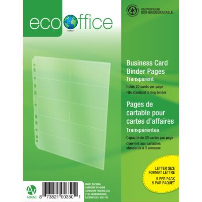 Pages de reliure pour cartes d'affaires, pqt 5