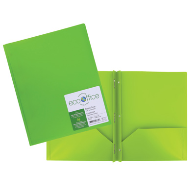 Poly 3-Prong Report Cover, 2 Pockets, Green