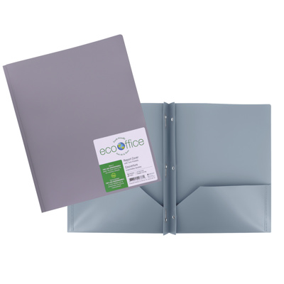 Poly 3-Prong Report Cover, 2 Pockets, Grey