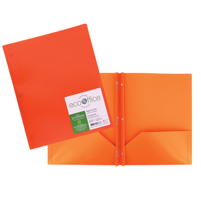 Poly 3-Prong Report Cover, 2 Pockets, Orange