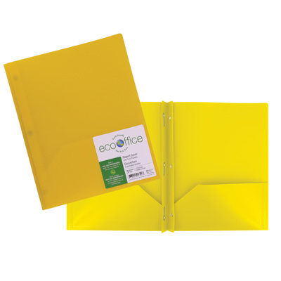 Poly 3-Prong Report Cover, 2 Pockets, Yellow