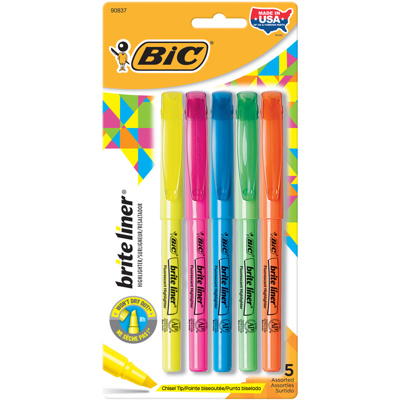 Brite-Liner Highlighter, x5 Assorted