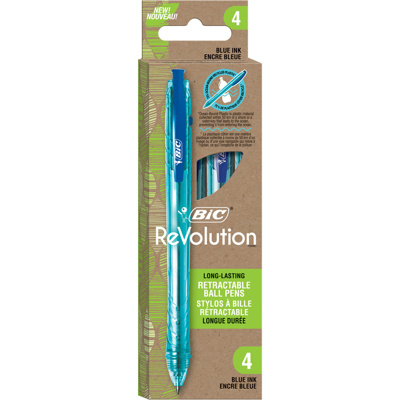 ReVolution Ocean Retractable Ball Pen, x4 Blue