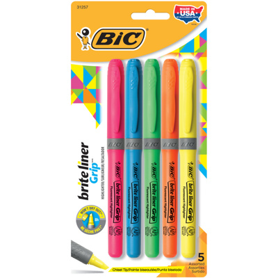 Brite-Liner Grip Highlighter, x5 Assorted