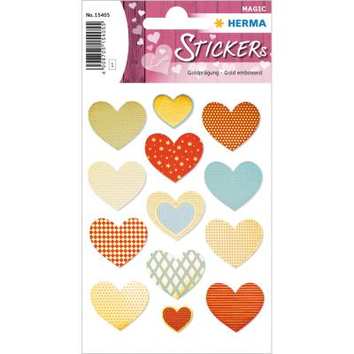 Stickers MAGIC Golden Heart, Gold Embossed