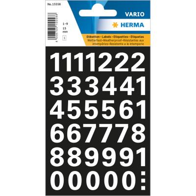 VARIO Numbers (0-9) 15 mm, White