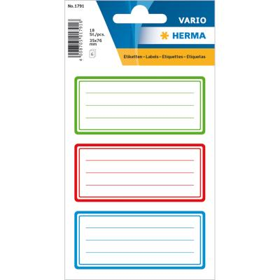 VARIO Neutral Labels, Colour Frame, Lined