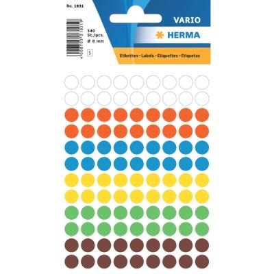 VARIO Round Labels, Ø 8 mm Dots, Assorted