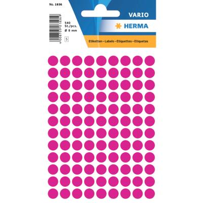 VARIO Round Labels, Ø 8 mm Dots, Pink