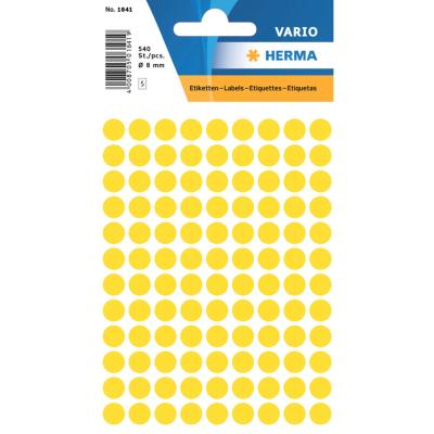 VARIO Round Labels, Ø 8 mm Dots, Yellow