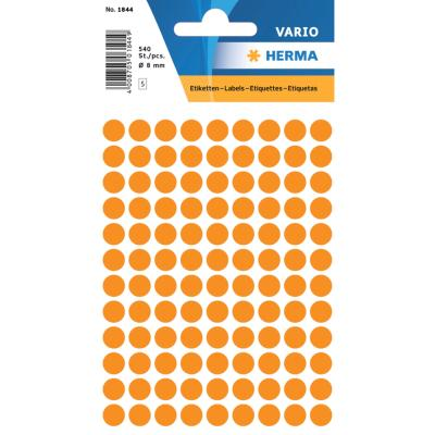 VARIO Round Labels, Ø 8 mm Dots, Fluo Orange