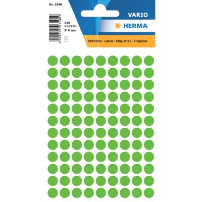 VARIO Round Labels, Ø 8 mm Dots, Fluo Green
