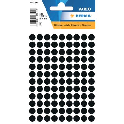 VARIO Round Labels, Ø 8 mm Dots, Black