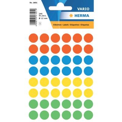 VARIO Round Labels, Ø 12 mm Dots, Assorted