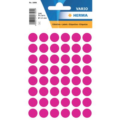 VARIO Round Labels, Ø 12 mm Dots, Pink