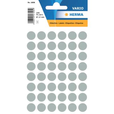 VARIO Round Labels, Ø 12 mm Dots, Grey