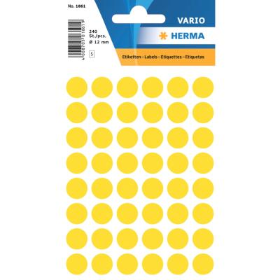 VARIO Round Labels, Ø 12 mm Dots, Yellow
