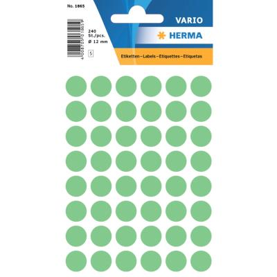 VARIO Round Labels, Ø 12 mm Dots, Green