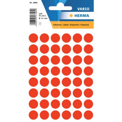 VARIO Round Labels, Ø 12 mm Dots, Fluo Red