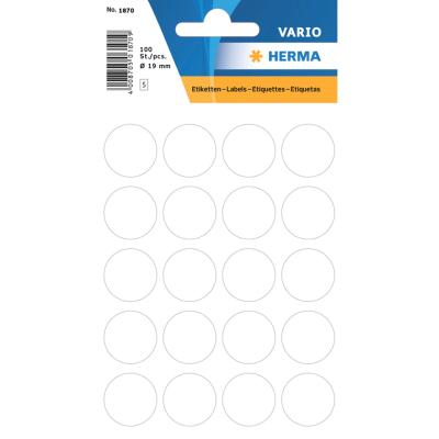 VARIO Round Labels, Ø 19 mm Dots, White