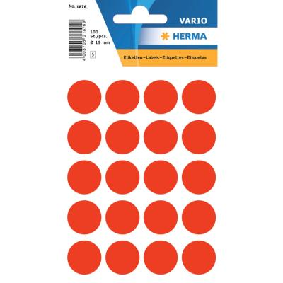 VARIO Round Labels, Ø 19 mm Dots, Fluo Red