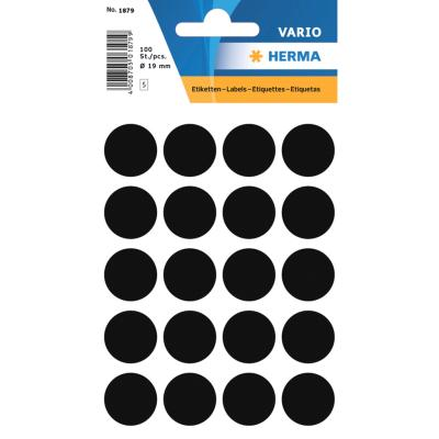 VARIO Round Labels, Ø 19 mm Dots, Black