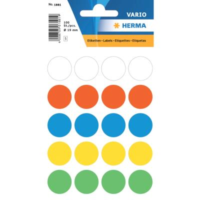 VARIO Round Labels, Ø 19 mm Dots, Assorted