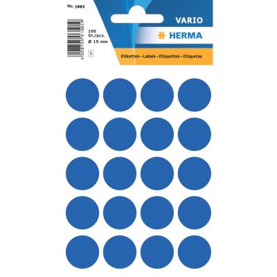VARIO Round Labels, Ø 19 mm Dots, Dark Blue